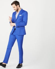 Slim fit bright blue suit pant