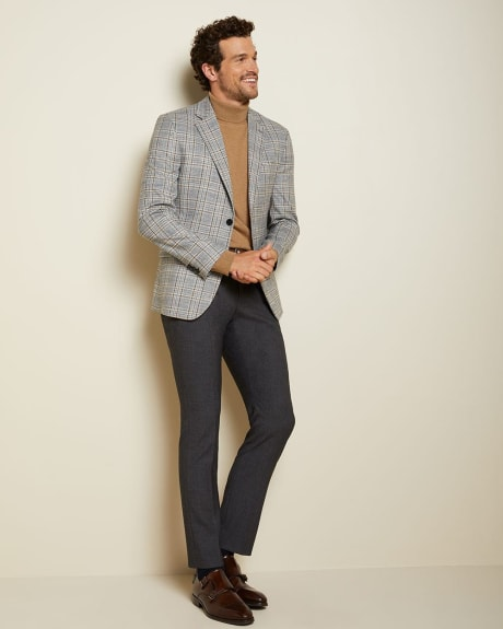 Slim fit checkered twisted yarn suit blazer
