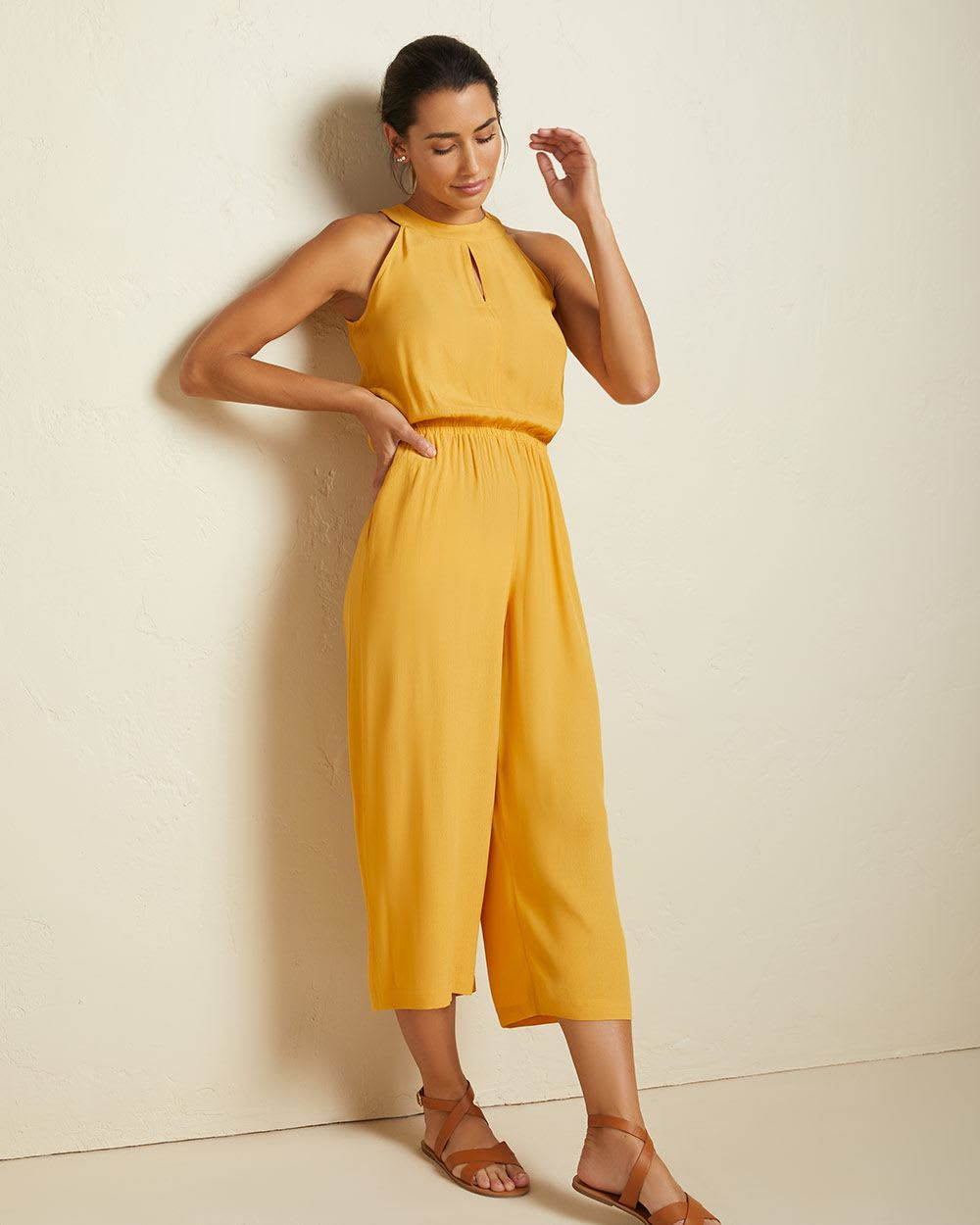 Halter crop wide leg jumpsuit