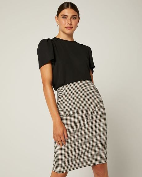 Camel And Black Vichy Pencil City Skirt