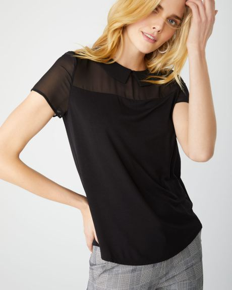 Chiffon collar mixed media t-shirt