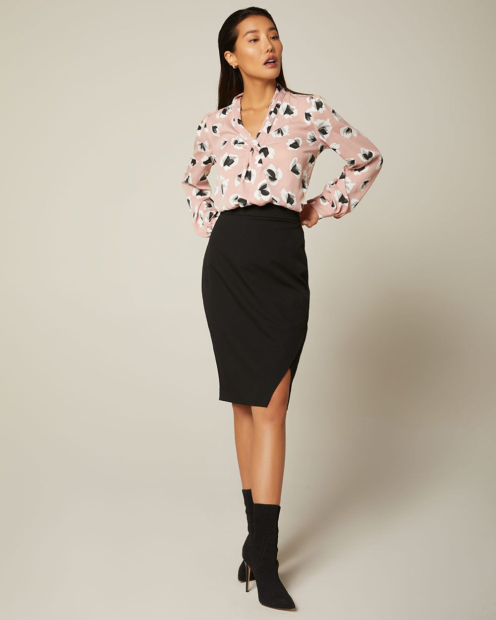 Stretch High-waisted faux wrap pencil skirt