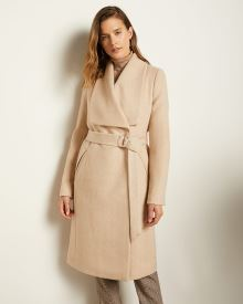 Long Belted Wool-Blend Coat