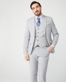 Essential Slim Fit stretch light heather grey suit Blazer