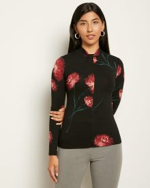 Long Sleeve Twisted Mock-Neck Top