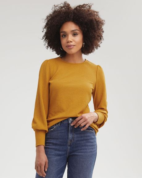 Puffy Sleeve Textured T-Shirt