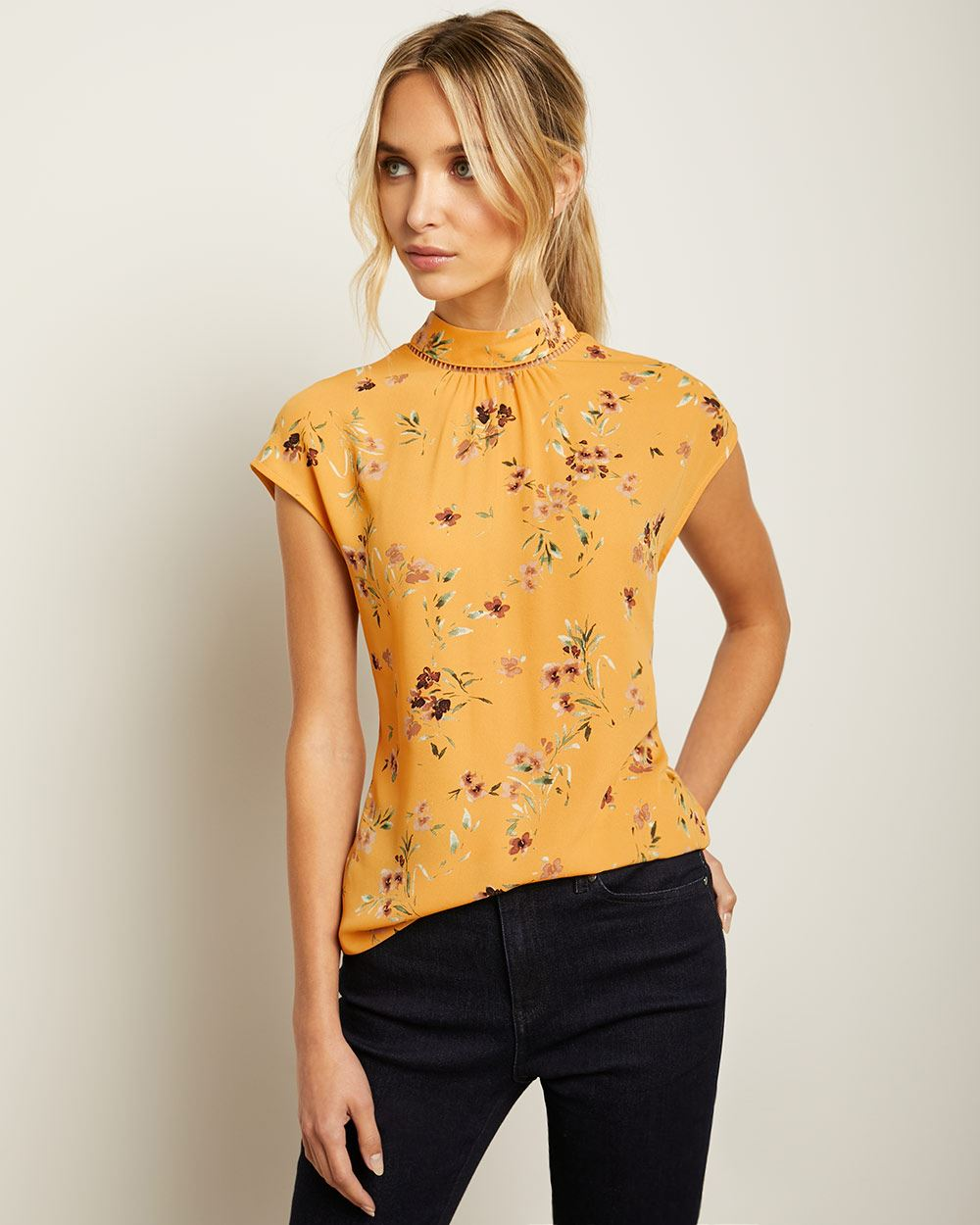 Short Sleeve Mixed Media T-shirt with Embroidered Mock-Neck