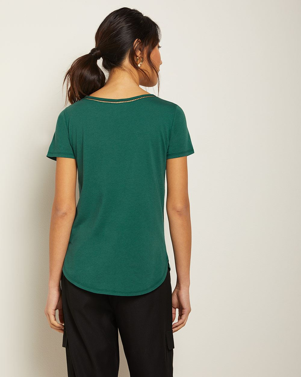 Detailed boat-neck cotton and modal t-shirt