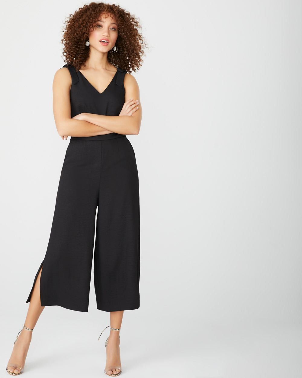 Crop wide leg jumpsuit