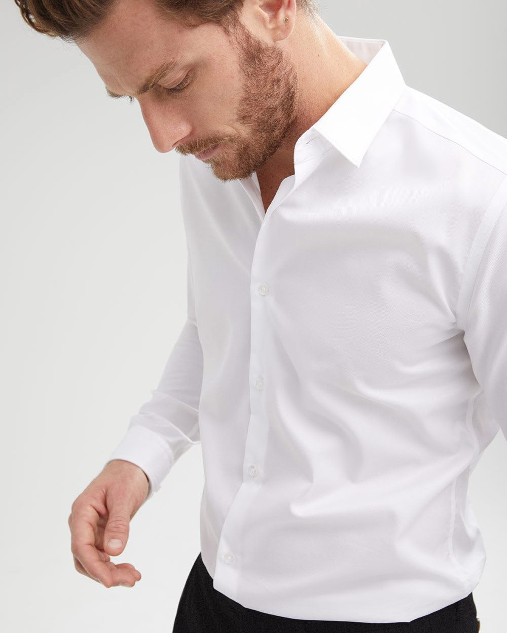 Tailored fit solid dress shirt - Short