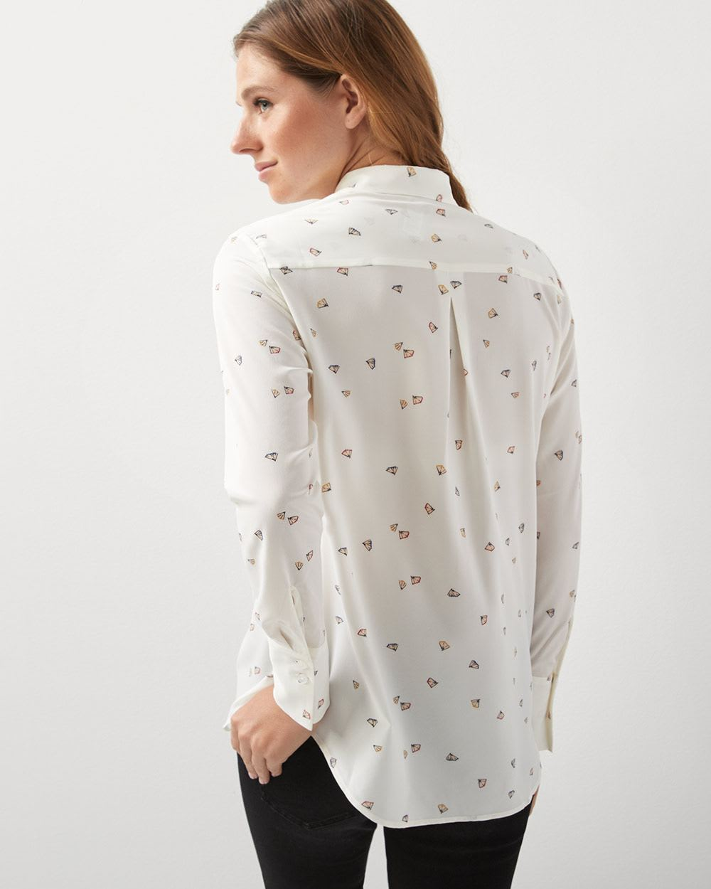fdbce539ca41c8 Long sleeve stretch button-down blouse