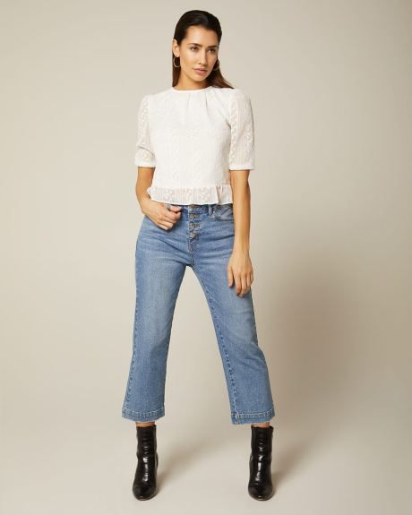 High-waisted cropped wide leg jeans