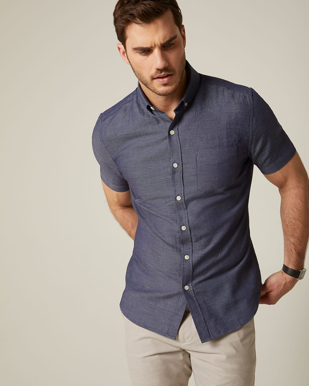 Tailored Fit Slub Short Sleeve Shirt