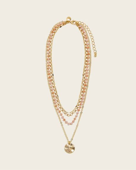 Pink Champain Layered Necklace