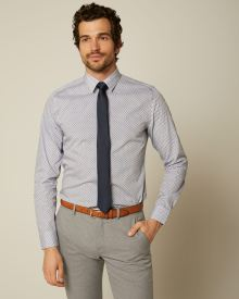 Slim Fit Bold Geo Pattern Dress Shirt