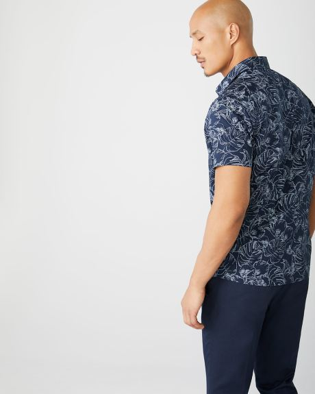 Tailored fit short sleeve leaf-print shirt