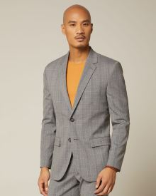 Slim fit grey and yellow check blazer
