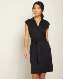 Sleeveless polo collar t-shirt dress