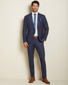 Athletic Fit blue prince of wales suit pant