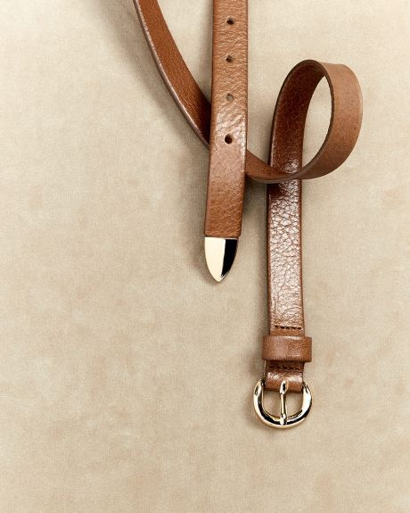 Tan leather belt with tip
