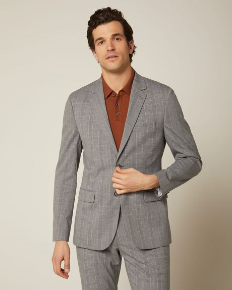 Tailored fit grey and yellow check suit blazer