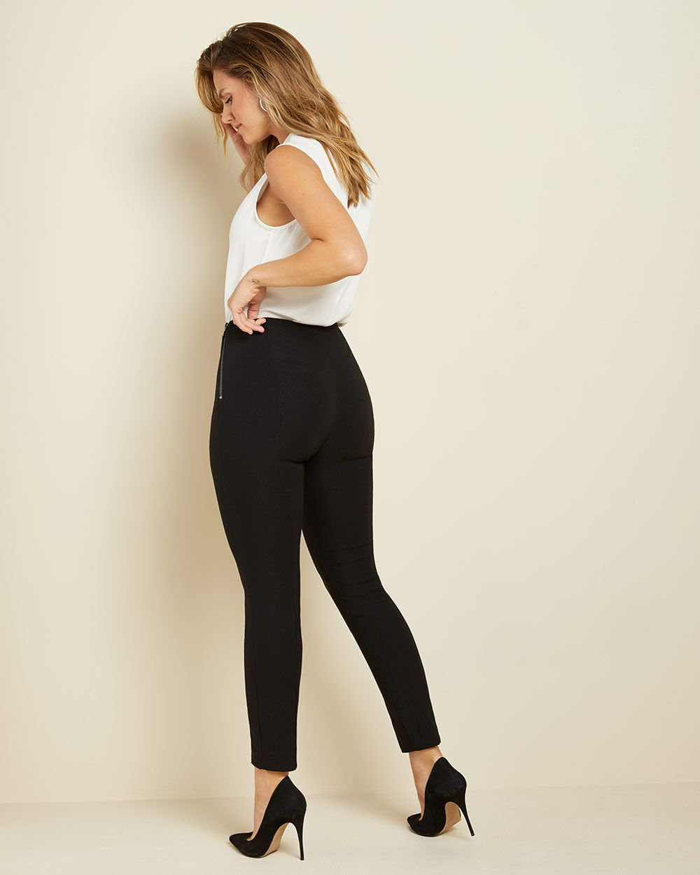 Black high-waist legging pant with split hem