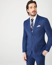 Essential Tailored Fit blue wool-blend suit Blazer - Short