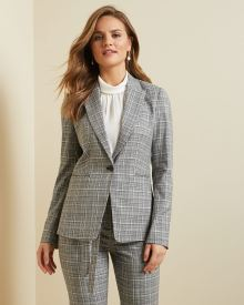 Fitted textured plaid blazer