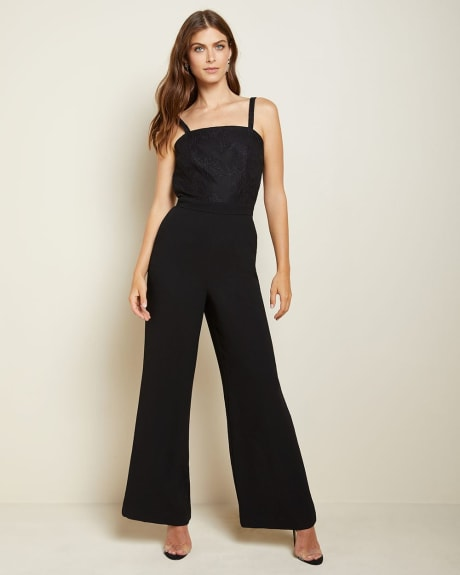 Sleeveless Lace-trimmed jumpsuit
