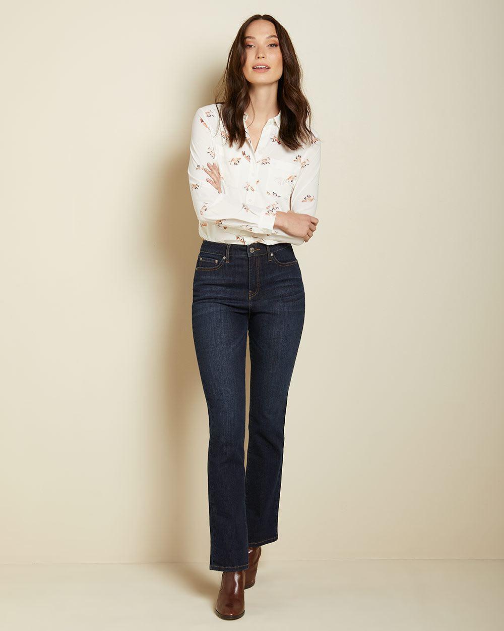 High Rise Semi Flare Leg Jeans In Raw Wash 32