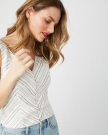 Striped linen-blend fitted top