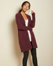 Cable stitch open cardigan