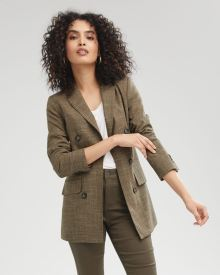 Loose Fit Faux Double-Breasted Brown Canvas Blazer