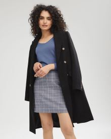 Long Double-Breasted Boucle Coat
