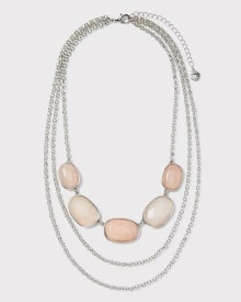 Semi-precious stone multi row necklace