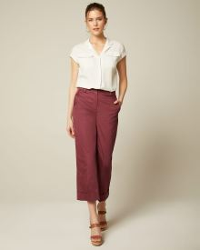 Linen High-Waisted Wide Crop Pleated Pant