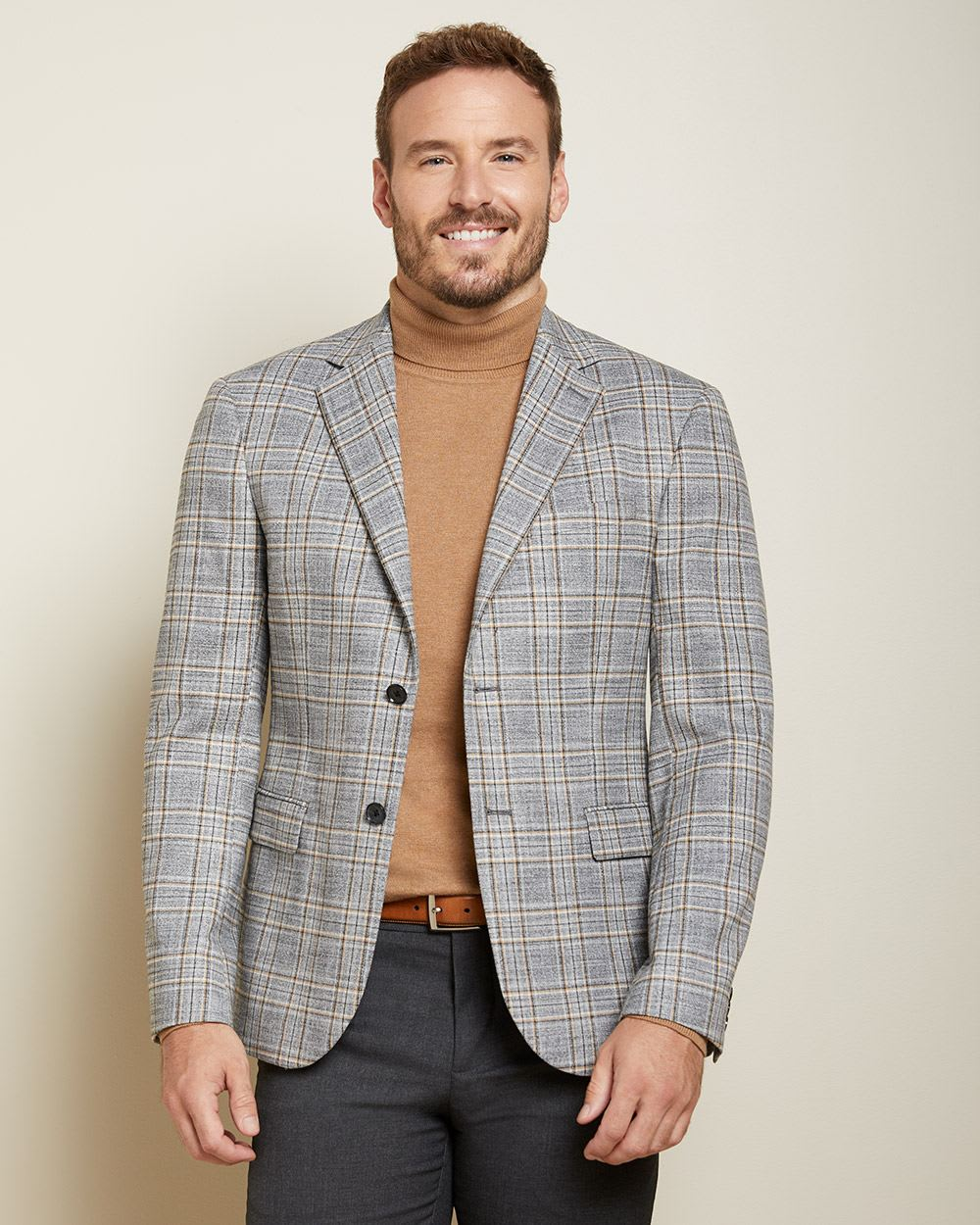 Athletic fit checkered twisted yarn suit blazer