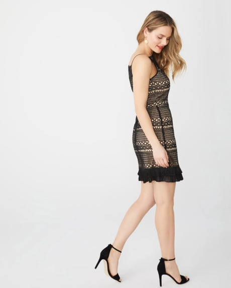 Lace and mesh cocktail dress
