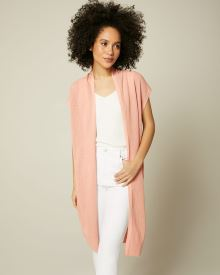 Sleeveless Mesh Stitch Cardigan