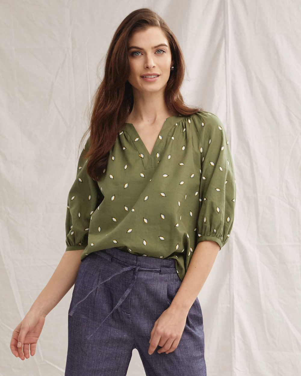 Scoop Neck with 3/4 Sleeves Blouse