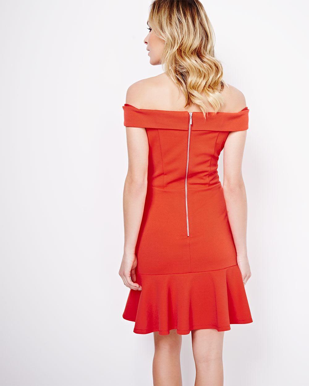 ABS by Allen Schwartz Off-Shoulder Dress with Peplum Hem | RW&CO.