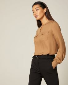 Light crepe utility blouse