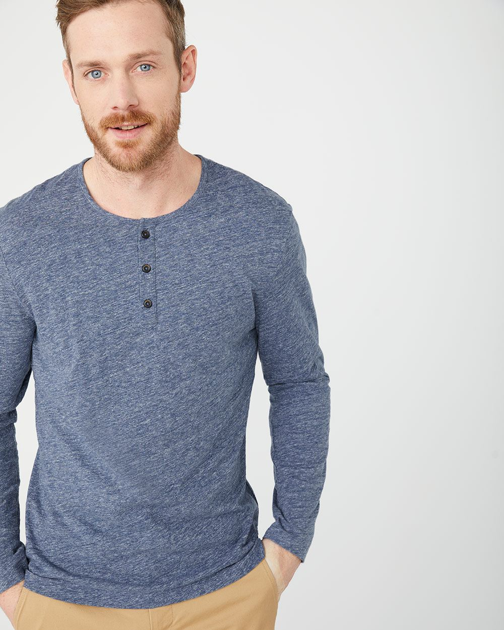 Heather Long sleeve henley t-shirt