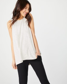 C&G Sleeveless striped French terry t-shirt with back pleat