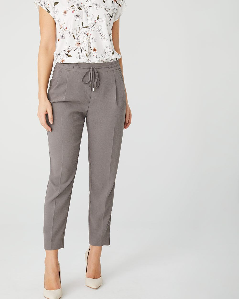 Pleated ankle pull-on pant with drawstring