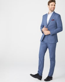 Tailored Fit Coolmax (TM) Crown blue suit pant