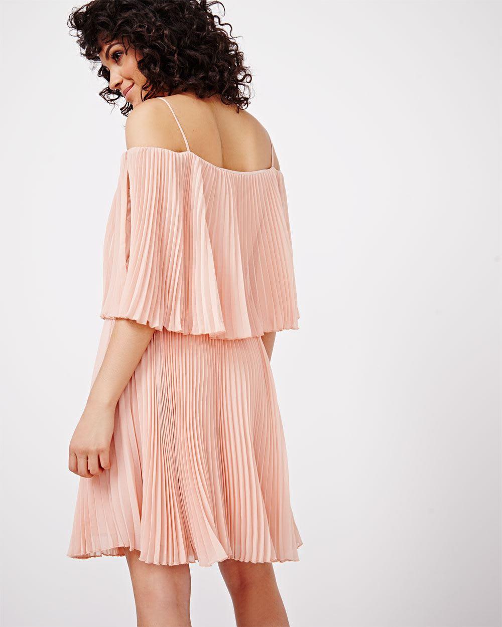 9cc28393cbe600 ABS by Allen Schwartz Cold-Shoulder Pleated Dress