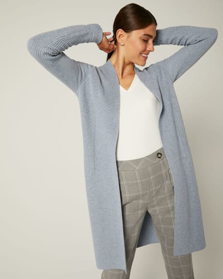 C&G Long Open-front cardigan with Rolled Cuffs