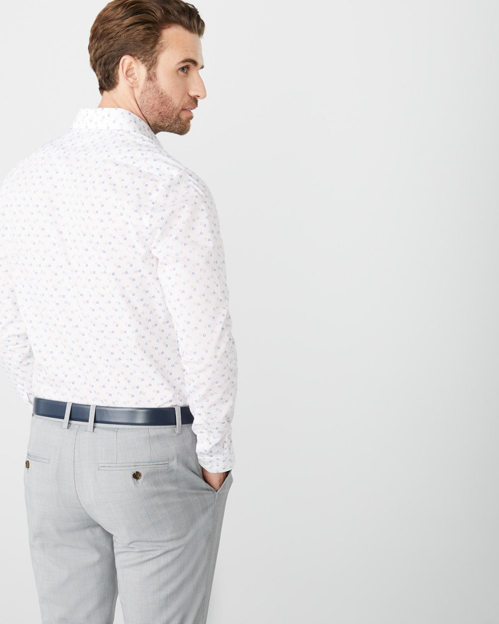 Slim Fit two-tone floral dress shirt