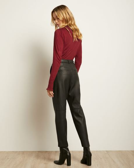 High-waisted Tapered Faux Leather Pant